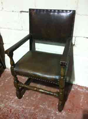 Leather and Oak Pub Armchair