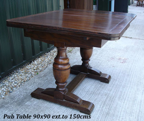 Dark Oak Pedestal Pub Draw Leaf Table