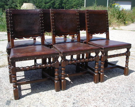 Set of 6 leather pub chairs