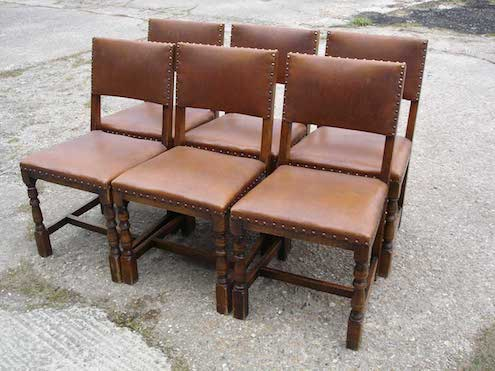 Set of 6 leather and oak pub chairs