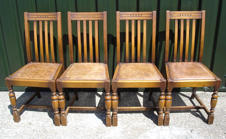 Set of four oak upholstered pub chairs 002