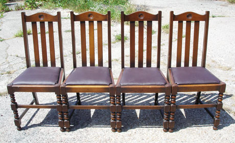 Set of four oak upholstered pub chairs 004